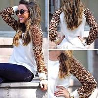 Free Shipping 2014 Women Spring Autumn Fashion Brand Chiffon Sleeve Hoodies Casual Sweatshirts Leopard Hoodies sport suit women