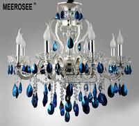Silver Crystal Chandelier Luster Light  Silver Chandelier, Blue Crystal Chandelier Light Fixture