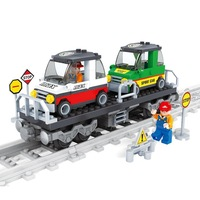 2014 New Boys Train Tracks Station Model Building Kits Sport Cars Models Learning Education Toys High Quality retails P33-23