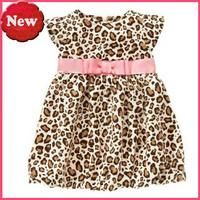 Retail 2014 new fashion girl's dress Christmas dress leopard dress free shipping