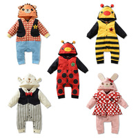 Promotion Cute Insect Design Cartoon Baby Boy or Girl Cotton Long Sleeve Hooded Romper 2014 Autumn BA-5