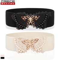 Handmade rhinestone bow cummerbund female all-match ultra wide elastic strap belt female