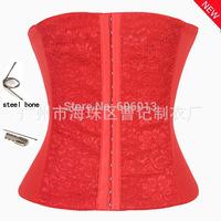 promotion women Steel Bone Waist Cincher/Trainer/ Body Shaper Corset Latex Waist Cincher Black beige color