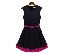 Sleeveless  Solid Fashion Casual Women Dress Black Color Fit For Spring, Autumn And Winter XZX19086