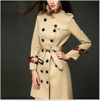 British Style Double Breasted Long Trench Coat 2014 New Europe Women Plus Size XXL Windbreaker Long Sleeve Winter Overcoat Khaki