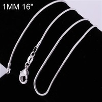 10pcs/lot Promotion! wholesale 925 silver necklace, 925 silver fashion jewelry Snake Chain 1mm 16 inches Necklace
