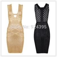 2014 new arrival women' HL V-Neck Gold Print Sleeveless Bandage Dress Celebrity black cut out Prom evening dress PARTY wholesale