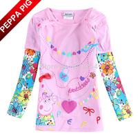Nova Kids Girls Peppa Pig T-shirt Fashion Baby Girl 100% Cotton Flowers Pink Color Long Sleeve T shirts