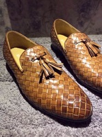 Authentic hand-woven leather men's shoes tassel leisure fashion shoes breathable water dyed leather shoes free shipping