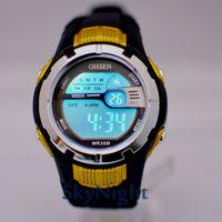 3PCS 2014 New OHSEN Fasion Cool Yellow Case 7color LED Light Sport Digital Men women Boy Sport Watch 0922-3 Wholesale