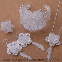 AS378 925 sterling silver Jewelry Sets Earring 588 + Necklace 699 + Ring 373 + Bangle 158 /awoajnva bigajzna