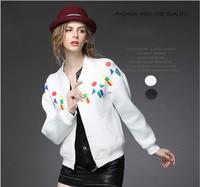 Women Fashion Sport Jacket Coat 2014 New Autumn Geometric Print Space Cotton Slim Zipper Cardigan Sweatershirt Female Clothing