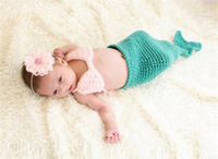 2014 mermaid blue three-piece suit children suit newborn photography hat a generation of fat