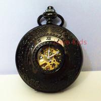 Vintage Mysterious Black Case Copper Pattern Hollow Turbine Skeleton Men Women Roma Self-wind Mechanical Pocket Watch  Gift