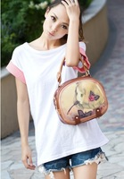 Free shipping The 2014 Vintage cartoon sweet girl cylindrical portable single shoulder bag PU bag hot bag