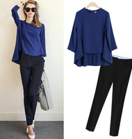 The new female suits fashion long sleeve tops + trousers two-pieces suits