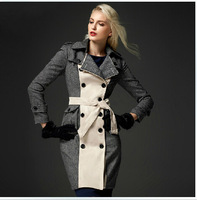 British Style Runway Double Breasted Long Trench Coat 2014 Winter Women's Fashion Color Block Plus Size XXL Windbreaker Overcoat