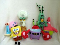 Free shipping spongebob plush toy Spongebob Patrick Star soft stuffed toy 6pcs/lot Christmas gift
