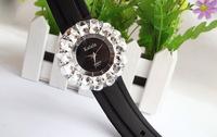 Free shipping Popular Waches Women/girl  Leather wrist watch Large dial Diamond pattern fashion  watch