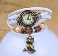 7 colors Popular Waches Women/girl  Leather wrist watch The owl pendant fashion vintage quartz watch
