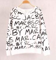 2014 New Spring/Winter Fashion Sportswear Brand Top Casual Grey Long Sleeve Black Letters Print O-Neck Pullover Sweatshirt Women