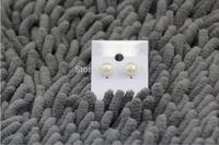 Free Shipping 8-8.5mm Flat Natural Fresh Water Pearl Women Stud Earring Pink/White/Purple 1pair/LOT