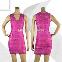 2014 new women' HL V-Neck Hot stamping  Sleeveless Bandage Dress Celebrity black red pink silver evening dress PARTY wholesale