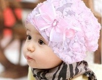 Fashion Sweet Lovely Cute Princess Children Kids Girls Baby Hat Beanie Pink New Lace Floral caps M23