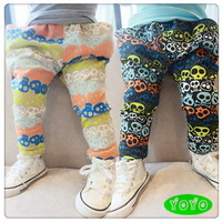 Baby boys fashion pants autumn 2014 baby casual new print skulls harem cotton pants 6-24 months Free shipping