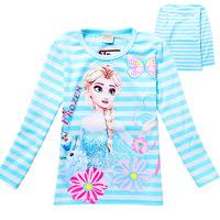 Free Shipping ! 2014 New Girls T-shirt Frozen Elsa and Anna Girls striped long-sleeved T-shirt ,Girls bottoming shirt