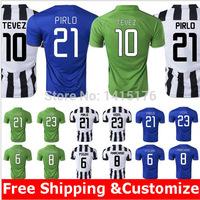 Top Thai quality kits14 15 Serie A soccer jerseys POGBA PIRLO home football shirts TEVEZ MORATA away blue soccer uniforms+logo