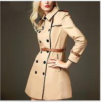 Luxury Brand Design Double Breasted Trench Coat 2014 New Winter Lady Epaulet Long Sleeve Slim Khaki Windbreaker Belted Overcoat
