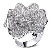 2014 flower shape finger ring top zircon crystal women's style best present for birthday
