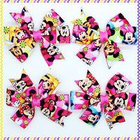 3.1'' Free shipping minnie Ribbon Bows with hair clip headband headwear hairbow diy decoration wholesale OEM P3440