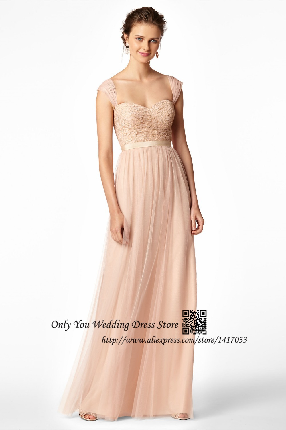 Pink Lace Wedding Guest Dress : Pink one shoulder halter cap sleeve lace long bridesmaid