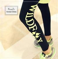 2014 New Fashion Korea FOX paw print leggings Single the side letters stretch cotton tenths pants Free Shipping