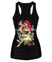 EAST KNITTING women t-shirt 3D mermaid casual  women tops camisole fashion punk Tank top