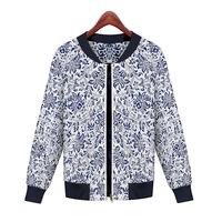 2014 European Brand Desigual Fashion Zipper Print Women Coat Slim Autumn & Winter Women Jacket Coat XZX19047