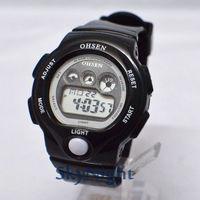 3PC 2014 New OHSEN Fasion Cool Black Strap Rubber LCD Digital BackLight Dive Digital Men Women Boy Sport Watch 1206-2 Wholesale