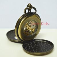 Vintage Bronze 2 sides Open case Pocket Watch Pattern Roma Hollow Turbine Skeleton Men Women Self-wind Mechanical Pocket Watch