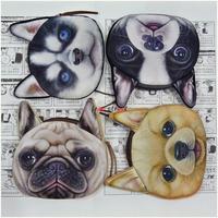 2014 New Cute Dogs Cartoon 3D Huskie print Animal Face Zipper Case Coin Purse Wallet Makeup Buggy Bag Pouch Women Kids XB-AAO