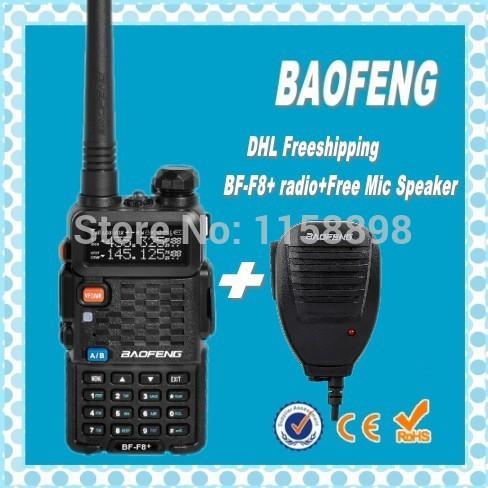 DHL Freeshipping+best baofeng BF-F8+ uhf vhf dual band ham 2 way radio station portable with handsfree walkie-talkie+mic speaker(China (Mainland))