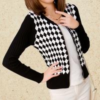 2014 autumn outerwear female long-sleeve sweater slim short jacket rhombus sweater cardigan