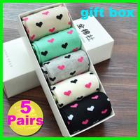 5pairs/pack autumn and winter knee-high gift box set female socks 100% cotton women's socks
