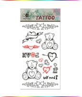 "Free Shipping ""I Love You Teddy"" Temporary Tattoo Body Art Tattoos"