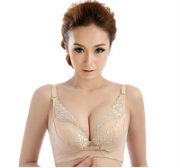 2014 Sexy C Cup Lady Front Closure Bra Underwear Padded Racer Back Racerback Push Up Bras 3 Colors for Lady Girls Women