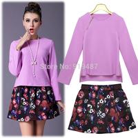 Free Shipping 2014 autumn winter casual dress pink woolen tops + florals mini skirt-pant women vestidos suit SF379