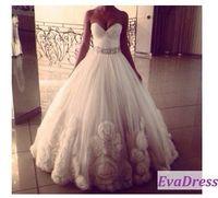 Free Shipping Sleeveless Sweetheart Belt Bead Crystals Flower Vestido Bride Bridal Dress 2015 Vintage Royal Wedding Gowns