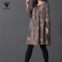 2014 autumn and winter new woman fashion casual dress vintage  print dress  long sleeve O-neck  loose plus size vestidos  C1419