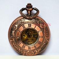 Vintage Red Case Cover Copper Flower Pattern Hollow Turbine Skeleton Men Women Self-wind Mechanical Pocket Watch +Chain Gift